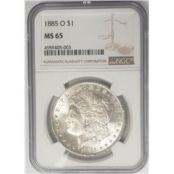 1885-O Morgan Silver Dollar $ NGC MS 65