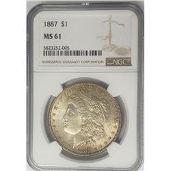 1887-P Morgan Silver Dollar $1 NGC MS61