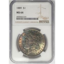 1889-P Morgan Silver Dollar $ NGC MS 64 Beautifull