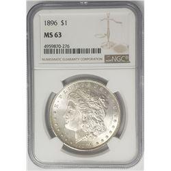 1896-P Morgan Silver Dollar $ NGC MS 63