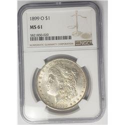 1899-O Morgan Silver Dollar $1 NGC MS61