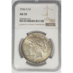 1926-S $1 Peace Silver Dollar NGC AU55