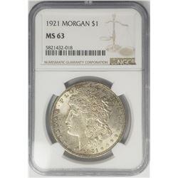 1921 Morgan Silver Dollar $1 NGC MS63