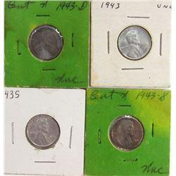 4-UNC Steel Cents; 1943,1943-D, (2)1943-S