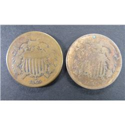 1864 & 1865 TWO CENT PIECES