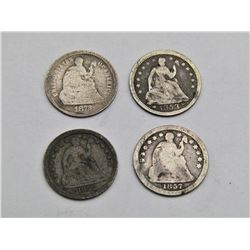 1852, 1853, 1857, 1872 SEATED HALF DIMES