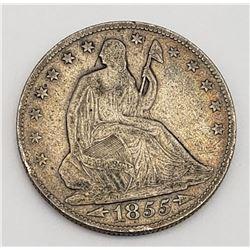 1855-O SEATED HALF DOLLAR