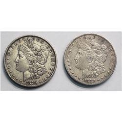 (2) MORGANS 1878 7TF REV of '78 & REV of '79