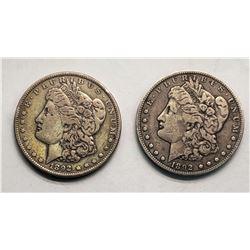 (2) 1892 MORGAN DOLLARS
