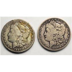 1897-S & 1898-S MORGAN DOLLARS