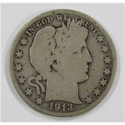 1913 BARBER HALF DOLLAR- GOOD