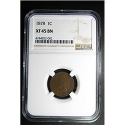 1878 INDIAN CENT NGC XF45 BN