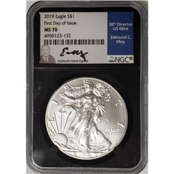 2019 AMERICAN SILVER EAGLE NGC MS70