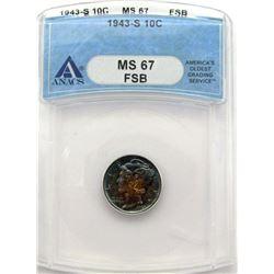 1943-S MERCURY DIME ANACS MS67 FSB