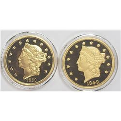 2-American Mint 24k Gold Plated Coins