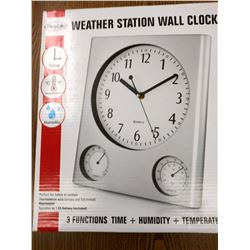 3 FUNCTION WEATHER STATION WALL CLOCK $39.99 EA