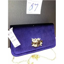 NEW, MACY'S INC. BLUE VELVET PARTY PURSE $79.50