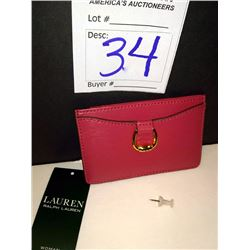 NEW, RALPH LAUREN LEATHER CARD HOLDER, RASPBERRY $38.00