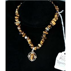 AUTHENTIC HAND POLISHED STONE WITH TIGER'S EYE NECKLACE