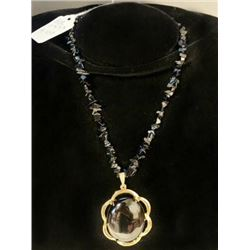 AUTHENTIC BLACK ONYX PENDANT NECKLACE