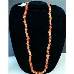 AUTHENTIC NATURAL ORANGE CARNELIAN NECKLACE