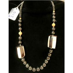AUTHENTIC BLACK JADE AND PEARL INLAY NECKLACE