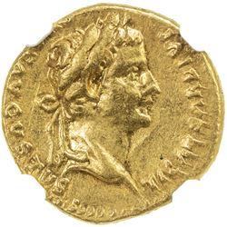 ROMAN EMPIRE: Tiberius, 14-37 AD, AV aureus (7.69g), Lugdunum. NGC EF