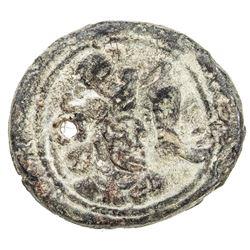 SASANIAN KINGDOM: Varhran IV, 388-399, lead pashiz (3.45g), NM, ND. VF