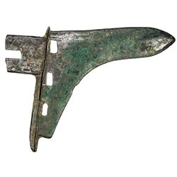 "WARRING STATES: AE halberd, 475-221 BC, (145g), 138x102mm, so-called ""halberd head money"", VF"