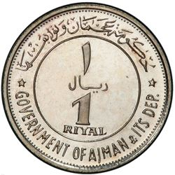 AJMAN: Rashid Bin Hamad al-Naimi, 1928-1981, AR riyal, 1969/AH1389. PCGS PF66