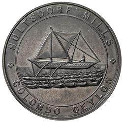 CEYLON: black vulcanite token, ND. AU