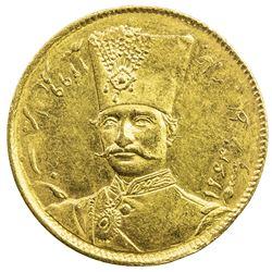 IRAN: Nasir al-Din Shah, 1848-1896, AV toman, Tehran, AH1299. UNC
