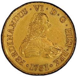 CHILE: Fernando VI, 1746-1759, AV 8 escudos, 1751-So. PCGS MS61
