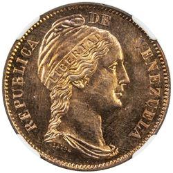 VENEZUELA: Republic, AE centavo, 1858. NGC SP