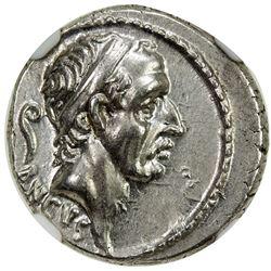 ROMAN REPUBLIC: L. Marcius Philippus, AR denarius (3.96g), Rome, 57-6 BC. NGC AU