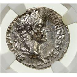 ROMAN EMPIRE: Tiberius, 14-37 AD, AR denarius (3.76g), Lugdunum, 36-37 AD. NGC AU