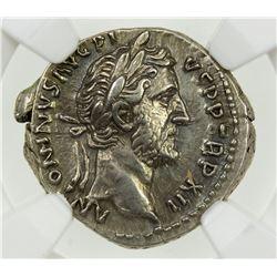 ROMAN EMPIRE: Antoninus Pius, 138-161 AD, AR denarius (3.41g). NGC AU