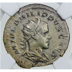 ROMAN EMPIRE: Phillip II, as Caesar, 247-249 AD, AR antoninianus (4.26g). NGC AU