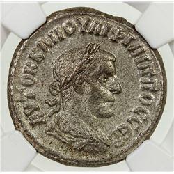 ROMAN EMPIRE: Philip II, as Augustus, 247-249 AD, BI tetradrachm. NGC AU