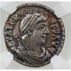 ROMAN EMPIRE: Valens, 364-378 AD, AR siliqua (1.93g), Trier, ND (368-75 AD). NGC EF