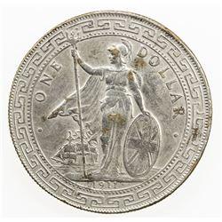 CHOPMARKED COINS: GREAT BRITAIN AR trade dollar, 1911-B. VF