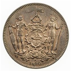 BRITISH NORTH BORNEO: Victoria, 1881-1901, AE cent, 1890-H. UNC