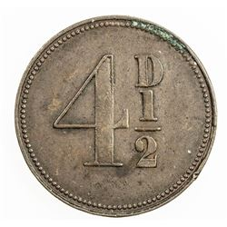 CEYLON: AE 4 1/2 pence token (3.54g), ND (1858). VF