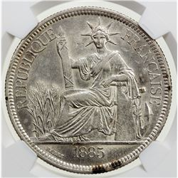 FRENCH INDOCHINA: AR piastre, 1885-A. NGC AU
