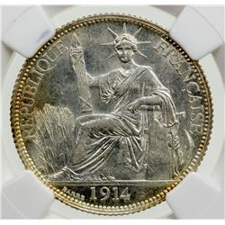 FRENCH INDOCHINA: AR 20 cents, 1914-A. NGC MS62