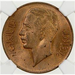 IRAQ: Ghazi I, 1933-1939, AE fils, AH1357/1938. NGC MS64