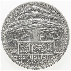 LEBANON: French Mandate, AR 50 piastres, 1933. EF