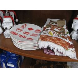 3PC SET OF 2 DECORATIVE KITCHEN TOWELS AND CAMPING PLATES