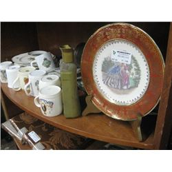ASSORTED TEA CUPS AND DECORATIVE PLATES