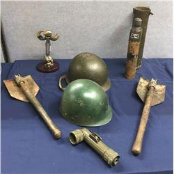 Lot 569 - Military Helmet, Tools, and Telescope Lot